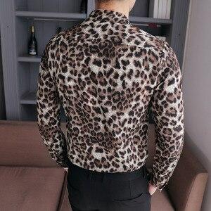 Image 2 - 고품질 남성 셔츠 브랜드 뉴 슬림 맞는 캐주얼 레오파드 인쇄 사회 셔츠 드레스 긴 소매 플러스 사이즈 나이트 클럽 댄스 파티 턱시도