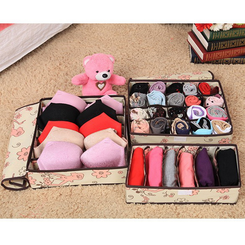 Multi-size Colorful Underwear Bras Box Organizer Storage Boxes Scarfs Sock Divider Lidded Closet Boxes Accessories Wholesale