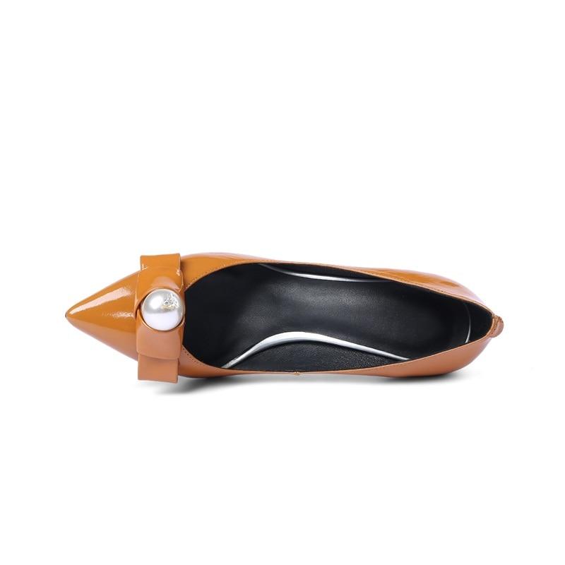 caramel Femme Bowtie Véritable Talons Zvq Pointu Chaussures Grande Black Hauts Pompes Vente Bonne Bout Mujer 2018 En Cuir Mariée Taille Color Zapatos vRRw7q