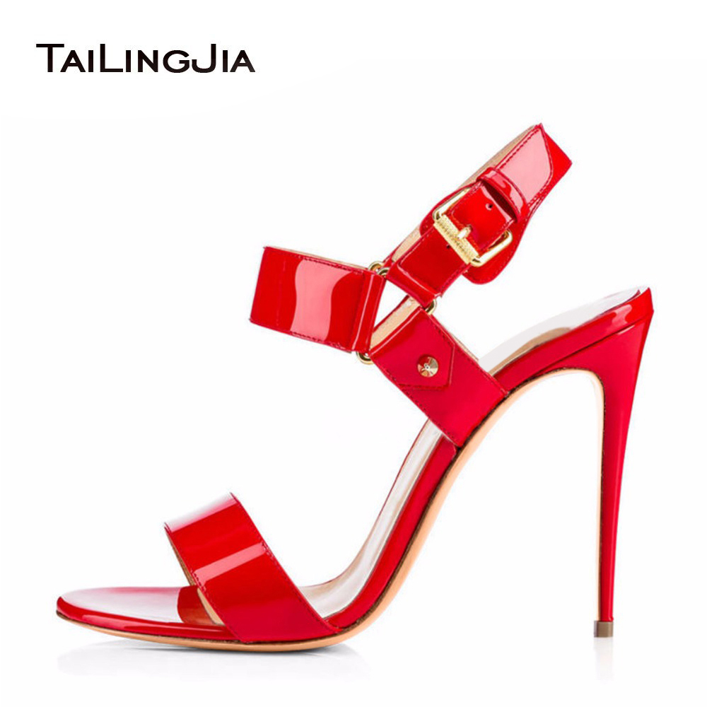Shiny Black Nude Red Sandals 2018 For Women Open Toe Buckle Strap Ladies Strappy High Heel Summer Shoes Stiletto Dress Heels red patent leather strappy sandals cut out ankle strap buckle high heel shoes peep toe cage shoes women summer dress shoes