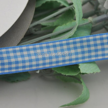 Upick 5 8 15mm Blue Color One Roll Tartan Plaid Ribbon Bows Appliques Sewing Crafts 50Y