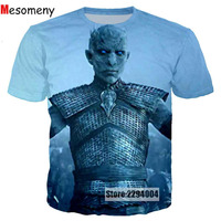 Mesomeny Newest TV Game Of Thrones The White Walkers Ghost 3D Printed Men Women T Shirt