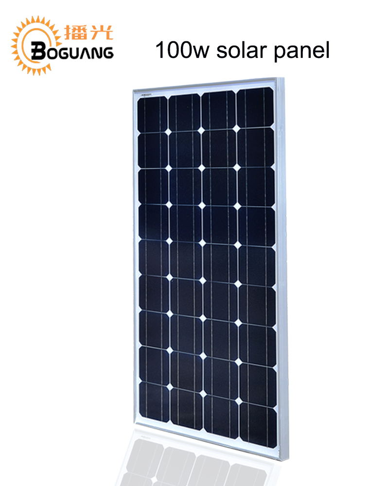 Boguang 100w Monocrystalline silicon cell solar panel module Tempered glass Aluminum frame for 12v battery light power charger high efficiency solar cell 100pcs grade a solar cell diy 100w solar panel solar generators