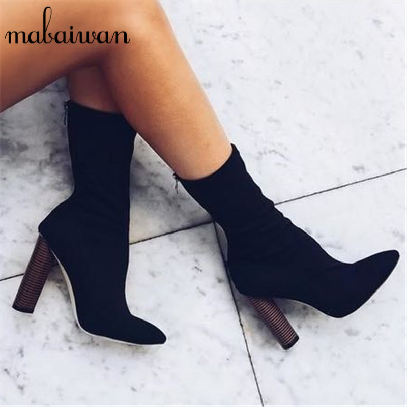 где купить 2017 New Fashion Black Women Stretch Boots Pointed Toe High Heel Booties Elastic Sock Botas Back Zip Botines Mujer Women Pumps дешево