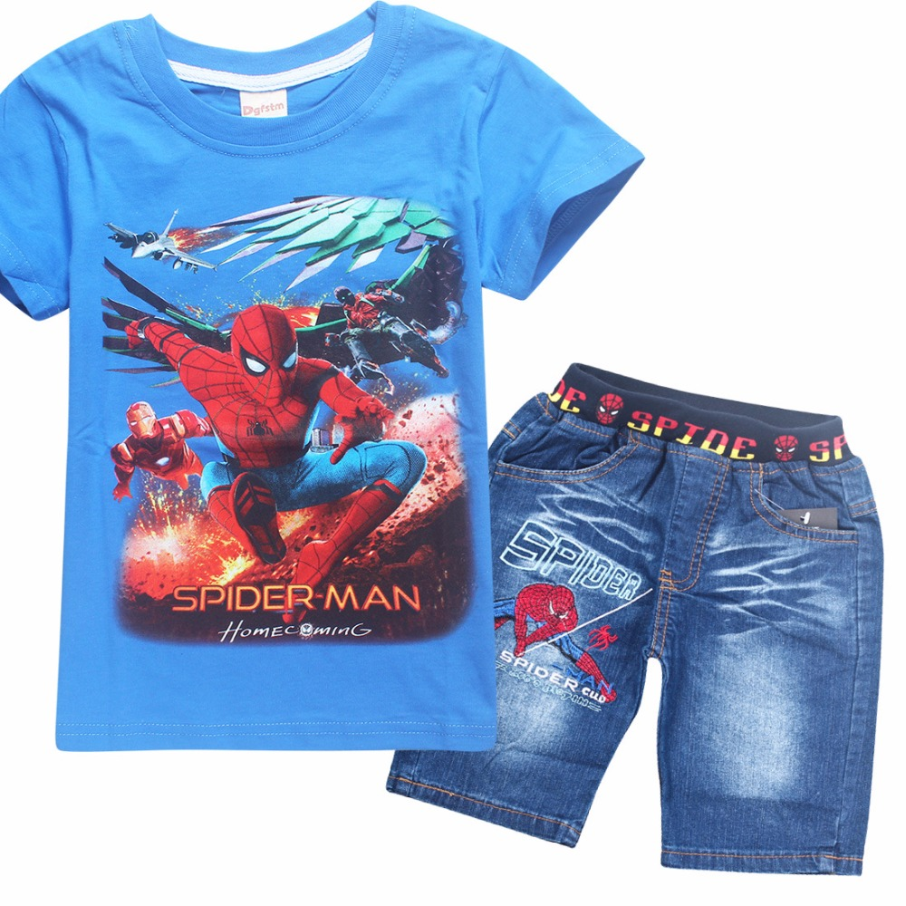 Children Kids Spiderman Denim Clothing Set Teenage Boys Summer Cotton Short Sleeve T Shirt Jeans Shorts Pants Clothes Set 2pcs children outfit clothes kids baby girl off shoulder cotton ruffled sleeve tops striped t shirt blue denim jeans sunsuit set