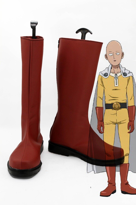 One Punch homme Saitama Caped Baldy Hagemanto bottes hommes garçon rouge Cosplay Halloween chaussures