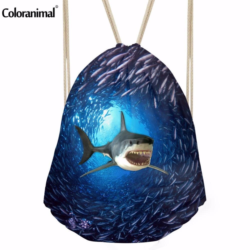 Coloranimal Women Casual Drawstring Bag Shark Seal Printing Sackpack for Teenager Boys Travel Beach Bagpack Mens Ladies School