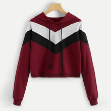 Womail female sweatshirts Patchwork Kpop Autumn hoodies long sleeve Casual Hooded Pullover Short korean style sweatshirt T721(China)