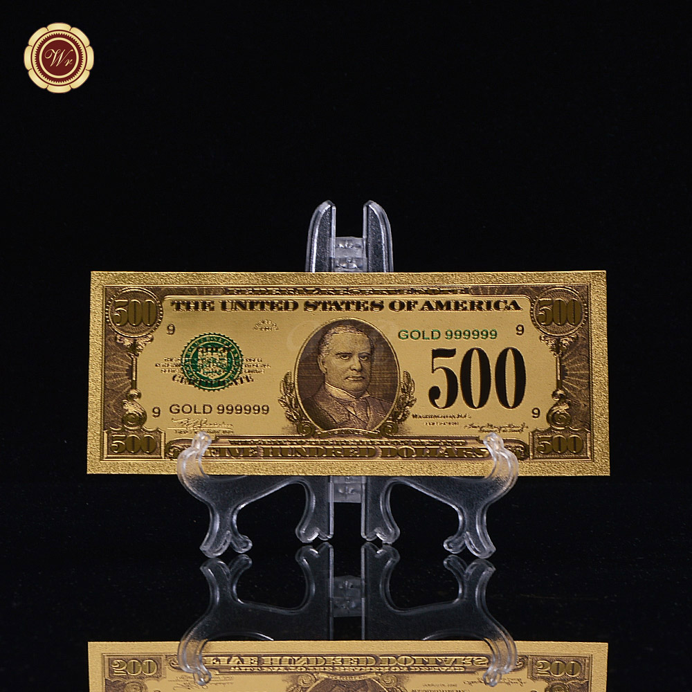 WR Birthday Gift Ideas 500 Dollar Gold Pated Banknote Creative American Colorful Money Banknote Art Crafts Original Size