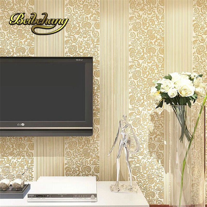 beibehang 3D non - woven wallpaper simple European - style vertical striped wall living room bedroom television background