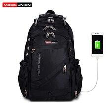 ماجيك الاتحاد محمول على ظهره الخارجية USB تهمة الكمبيوتر حقائب الظهر مكافحة سرقة حقائب مقاومة للماء للرجال النساء حقيبة المدرسة
