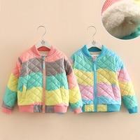 Baby color cotton clothing 2018 winter new Korean girls children's clothing children plus velvet thickening jacket