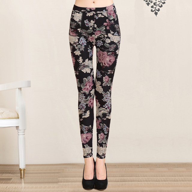 2017 New Summer Autumn Slim Leggings Women Trousers Pants Capri 22 Colors Print Rayon Female Leggings Pants fitness Plus Size