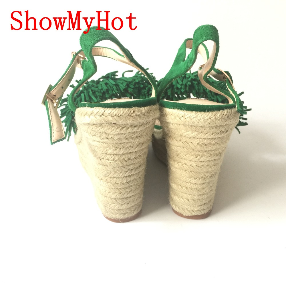 766a37887fe5f ShowMyHot Sexy Open toe Weave Patch Color Wedges Gladiator Sandals Women  High Heels Platform Sandals Summer Women s tassel Shoes-in High Heels from  Shoes on ...