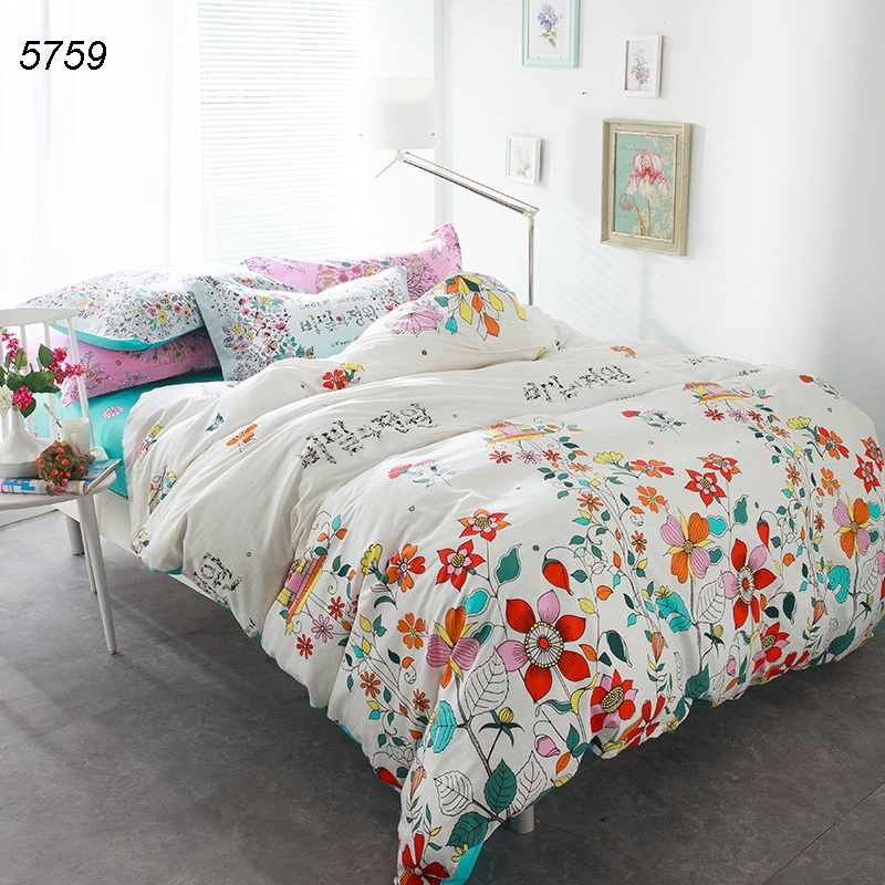 forest plants bed clothes flowers bed linens cotton fabric 4pcs bedding set queen duvet cover flat