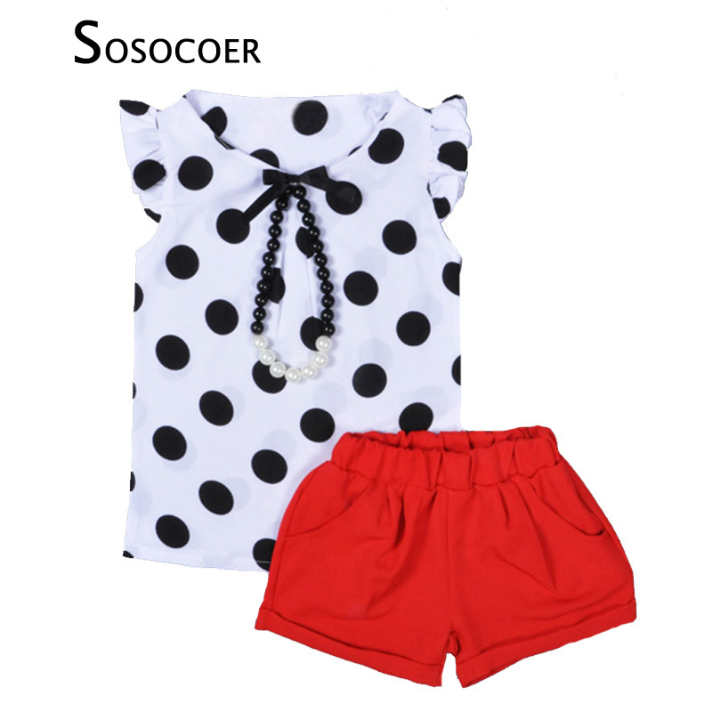 SOSOCOER Baby Girls Clothing Sets 2017 Summer Polka Dot T Shirt+Red Short Pants 2pcs Kids Clothing Set For Girl Clothes Outfits toddler baby kids girls clothes sets summer lace tops t shirt short sleeve denim jeans pants cute outfits clothing set