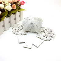50 pcs/lot White Color Romantic Wedding Favor Box With Organza Ribbon Birthday Party Laser Cut Butterfly Candy Boxes