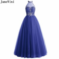 JaneVini Luxurious Sequined Beaded Long Bridesmaid Dresses A Line Halter Sheer Back Floor Length Royal Blue Tulle Prom Party Gow