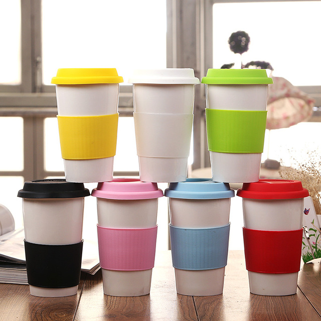 1pc Ceramic Cup Coffee Mugs With Silicone Lid Heat Insulated Case Custom Printed As Advertising Promotional Gift Upstyle