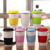 Taza de cerámica Taza de Café Con Tapa Y Con Aislamiento Térmico Caja De Goma de Silicona, LOGOTIPO Personalizado Impreso Como Publicidad/Promoción regalo