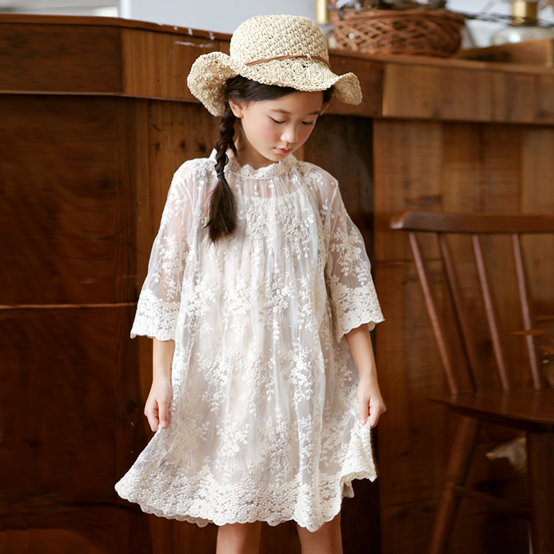 high quality girls summer dress children clothes 2018 kids girl dress with sleeve lace princess dress teens girl party dresses girls dress girl top quality dresses 100