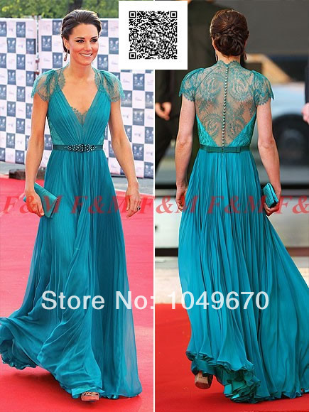 2014 Sexy V Neck Cap Sleeves Lace Evening Dresses Kate Middleton Jenny  Packham Green Celebrity Red Carpet Dresses F M922-in Evening Dresses from  Weddings ... 3949710dd42b