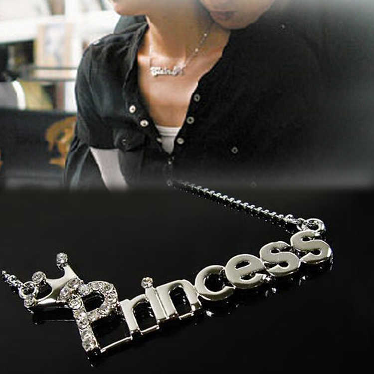 2016 Hot Selling Charming Jewelry Accessories Rhinestones Inlaid Princess Pattern Pendant Necklace Silver Plated