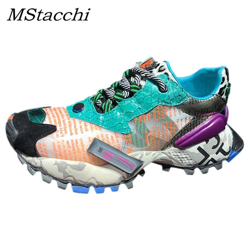 MStacchi ผู้หญิงรองเท้าผ้าใบฤดูร้อน Breathable ตาข่ายรองเท้างูผสมสีพ่อรองเท้าสตรีแพลตฟอร์มรองเท้าตะกร้า Femme-ใน รองเท้ายางวัลคาไนซ์สำหรับสตรี จาก รองเท้า บน   1