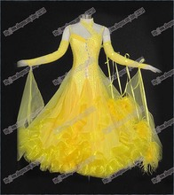 New Competition ballroom Standard dress,juvenile dance clothing, yellow women dress,Salsa dance dress,Tango dance dress