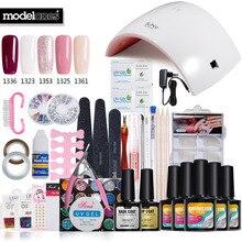 Nail Art Pro DIY Full Set Soak Off Uv Gel Polish Manicure set 24W Curing Lamp Kit any 5 colors&base top Set nail gel nail tools
