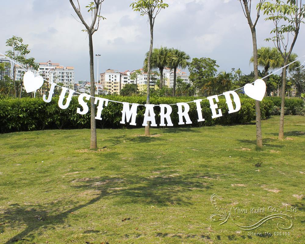 Bonito día de boda de encaje rosa brillante caliente casado Empavesado Bandera Guirnalda Fiesta
