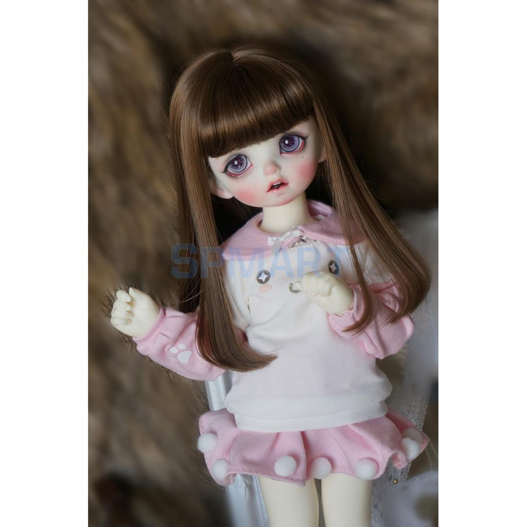 Cute Pullover Sweatshirt and Skirt with Collar Outfit for 1/6 BJD SD Doll Clothes Dress Up ACCS fresh style stand collar elk print fleeced pullover sweatshirt for women