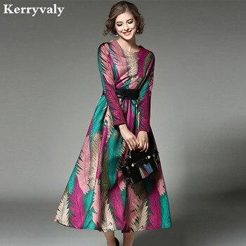 bdadf2941 -Mujeres Jacquard Vestido Maxi largo Vetement Femme 2019 Robe Longue otoño