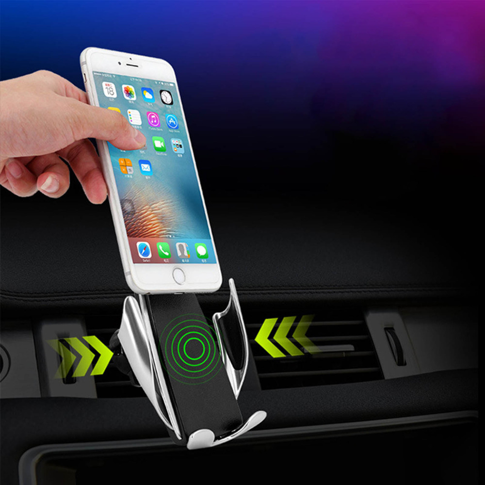 Automatic Clamping Wireless Car Charger Mount Bracket for iphone Android Type C interface 360 Degree Rotation Charging Air Vent