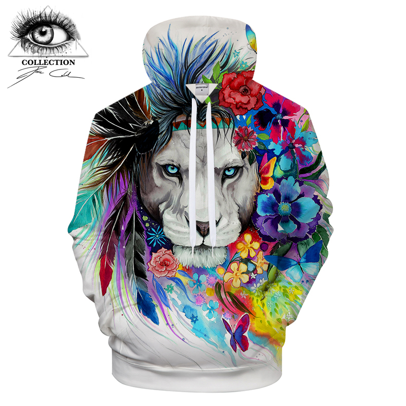 King of the lion by Pixie cold Art 3D Animal Hoodies Men Sweatshirts Brand Tracksuits Casual Pullover Unisex Hoodie ZOOTOP BEAR