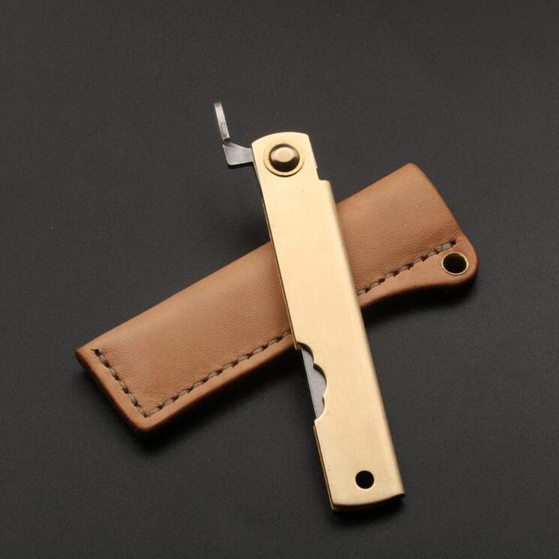 Handmade Traditional Japanese Folding Style Knife With Shealth Razor Knife Feathers Pattern Brass Case Oil Leather