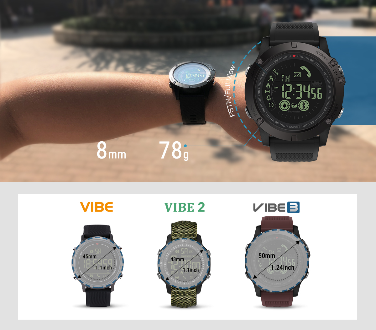 VIBE 3 Rugged Smartwatch 33-month Standby Time 24h All-Weather Monitoring Smart Watch For IOS And Android - watches