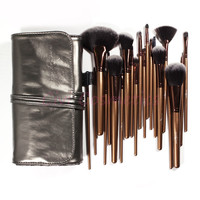 Professional 21 Pieces Black Golden Synthetic Hair Makeup Brush Sets With Silver Gray Leather Bag