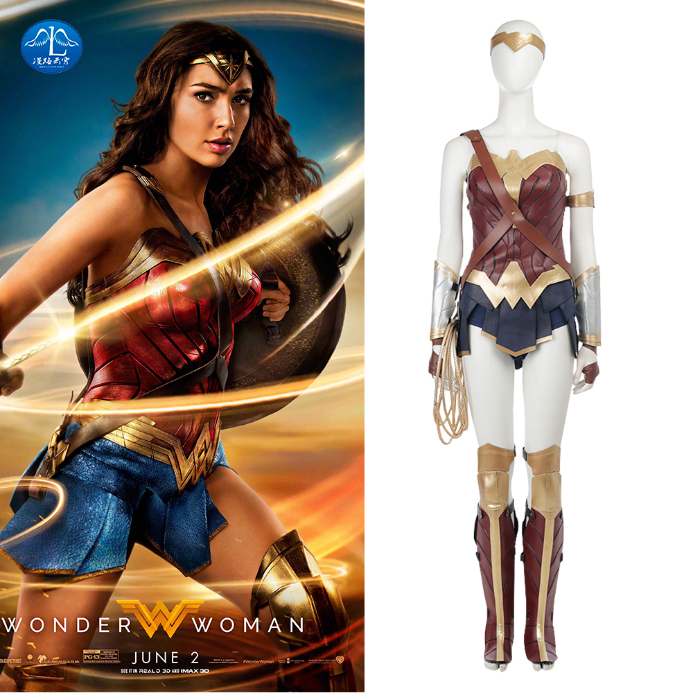 MANLUYUNXIAO Hot Sale Justice League Cosplay Wonder Woman Cosplay Costume Women Halloween Carnival Wonder Woman Costume Full Set