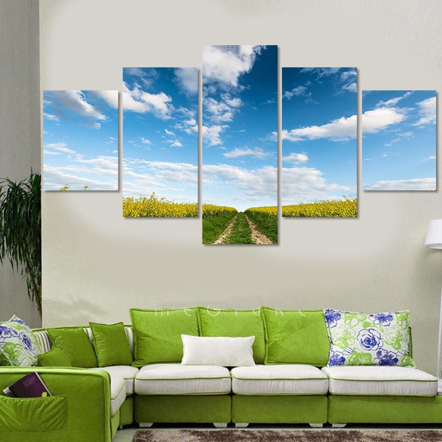 5 panel zeď modrá obloha krajina malba na plátně abstraktní malby modulární obrázky plátno tisk umění domácí dekorace
