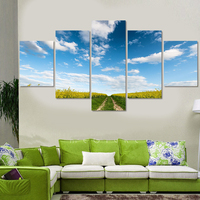 5 Panel Wall Blue Sky Landscape Painting On Canvas Abstract Paintings Modular Pictures Canvas Print Art Home Decoration