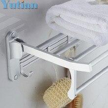 Bathroom towel holder, Foldable  towel rack,50cm and 40 cm size oxidation aluminium  towel rack with hooks YT-4018