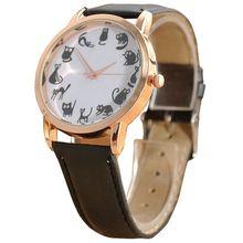 Girls Informal Watch Cat Dial Leather-based alloy Analog Quartz Wrist Watches Black