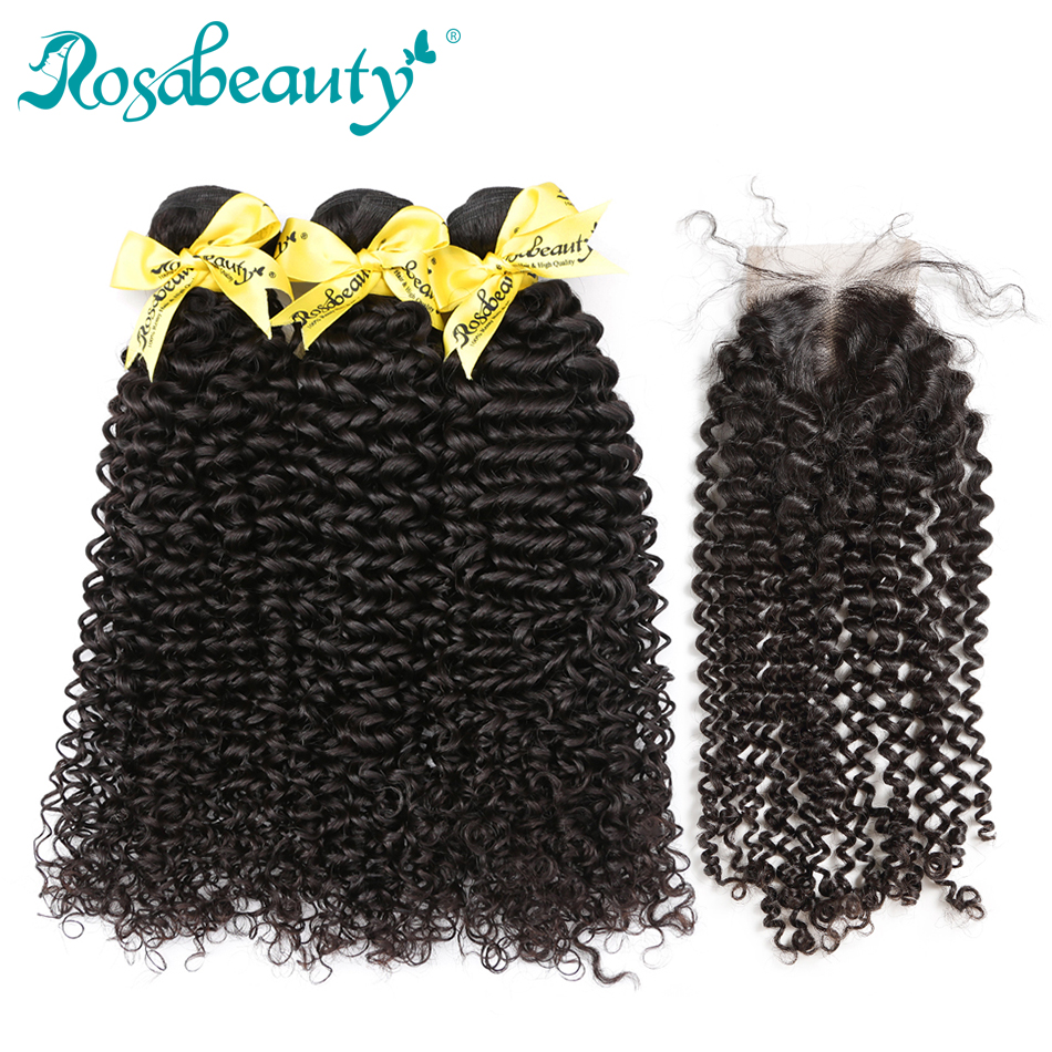Malaysian Hair With Lace Closure Kinky Curly Bundles With Closure Frontal Rosabeauty 10- 28 Inch 8A Human Hair Bundles Remy Hair