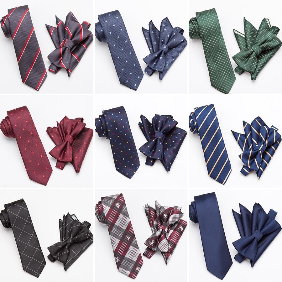 Mens Tie Set Fashion Bowtie Cravat Necktie Skinny Ties For Men Wedding Gifts Dress Handkerchief Pocket Square Suit Accessories