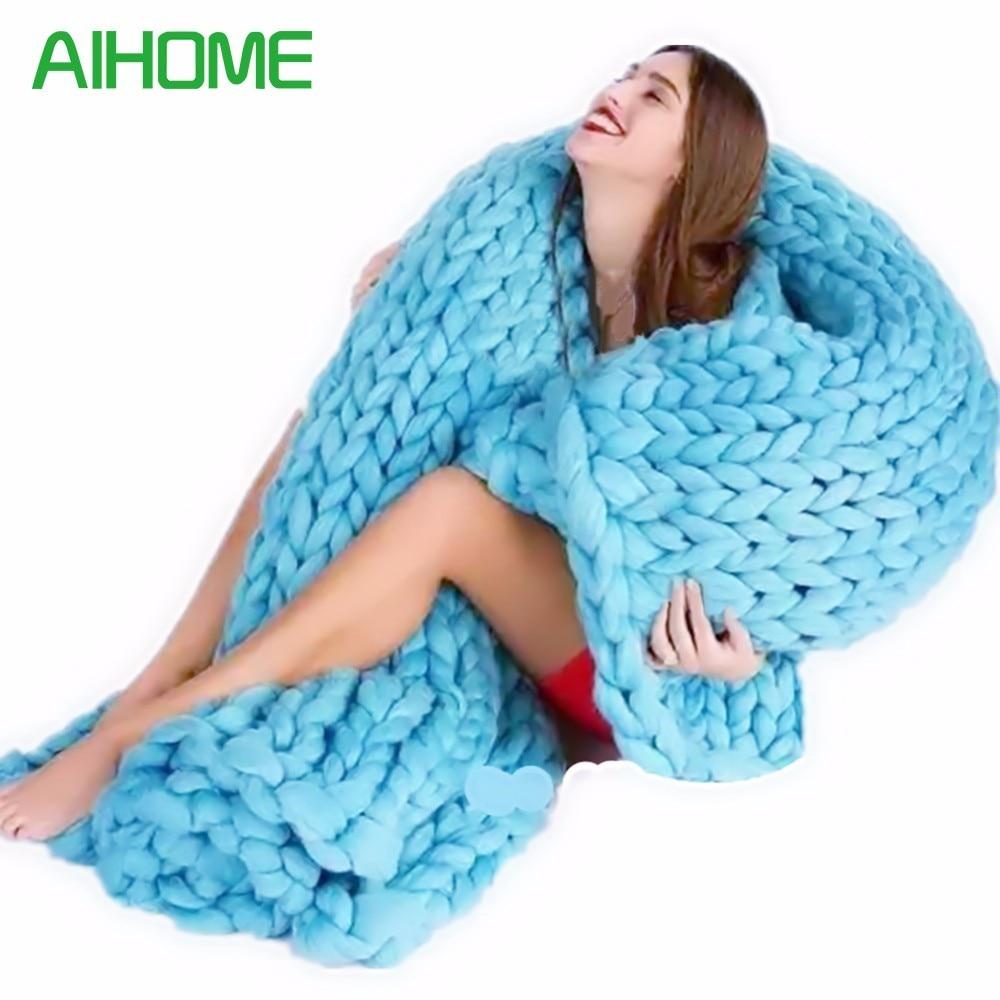 Suave línea gruesa Mantas mano moda lana chunky punto manta gruesa ...
