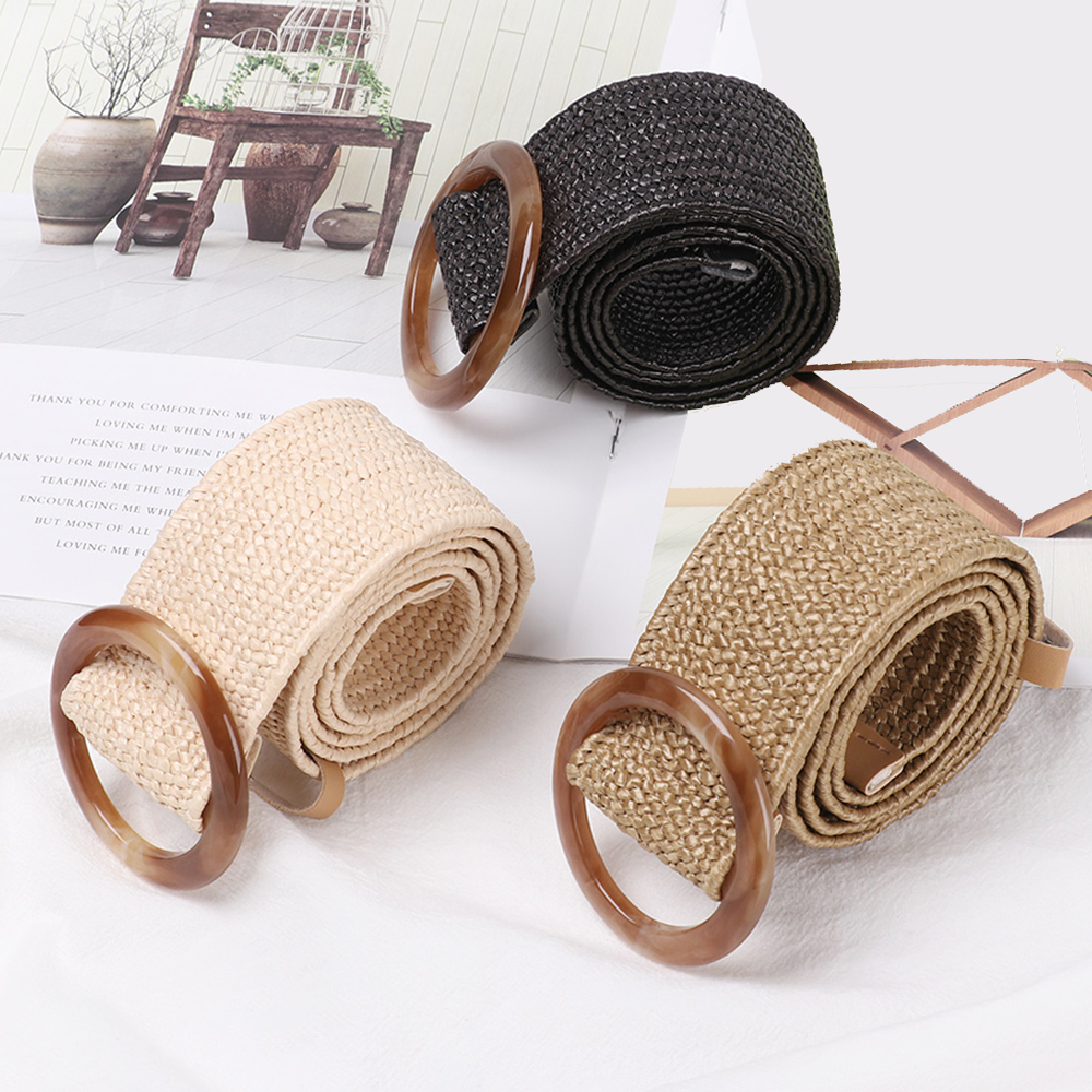 New Round Wooden Buckle Dress Belt For Women Casual Female Braided Wide Strap Female Designer Woven Girls Elastic PP Straw Belts(China)