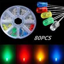 Lowest Price 80Pcs 5mm 2Pins Red Yellow Blue Green Light Assortment LED Diodes Round DIY Kit