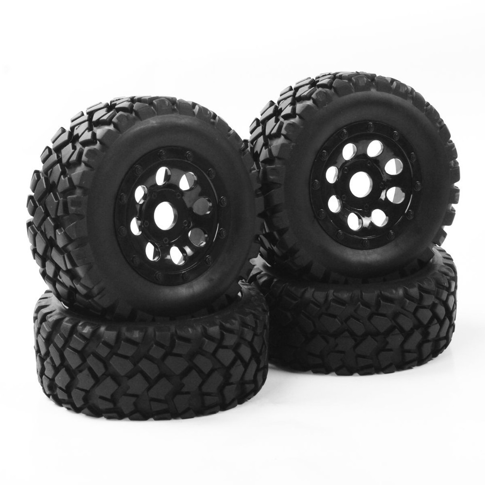 1:10 RC Short Course Truck Tires Tyre Wheel Rim Set For TRAXXAS SLASH HPI Car Parts & Accssory With Adapter free shipping 78pcs gear set tyre tires special umbrella teeth gears rack car shaft spare parts for diy rc car aircraft models