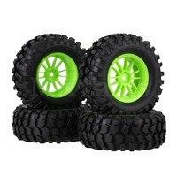 4 X RC1 10 Black Rubber Tyre Plastic 12 Spoke Wheel Rim For Rock Crawler